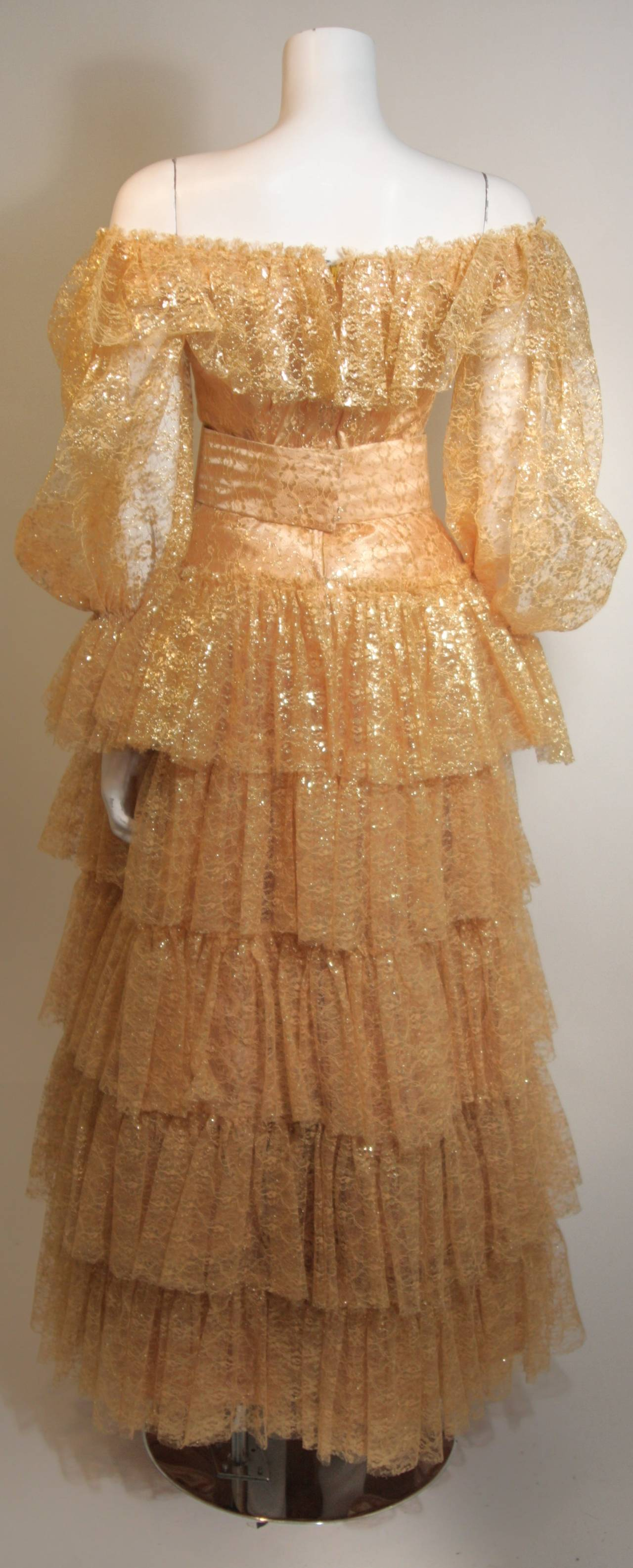 Attributed to Travilla Gold Tiered Lace Ball Gown with sheer lace sleeves size 4 8