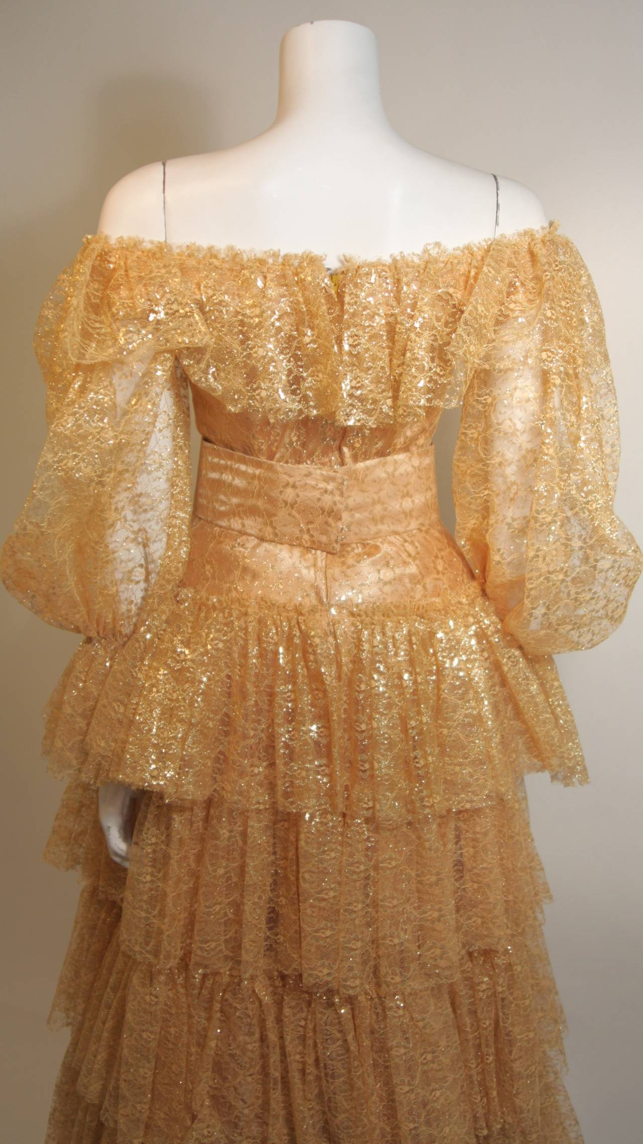 Attributed to Travilla Gold Tiered Lace Ball Gown with sheer lace sleeves size 4 9