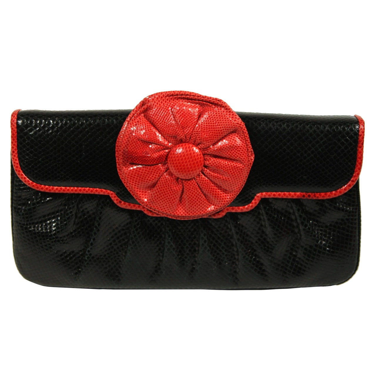 Judith Leiber Black and Red Snakeskin Clutch 1