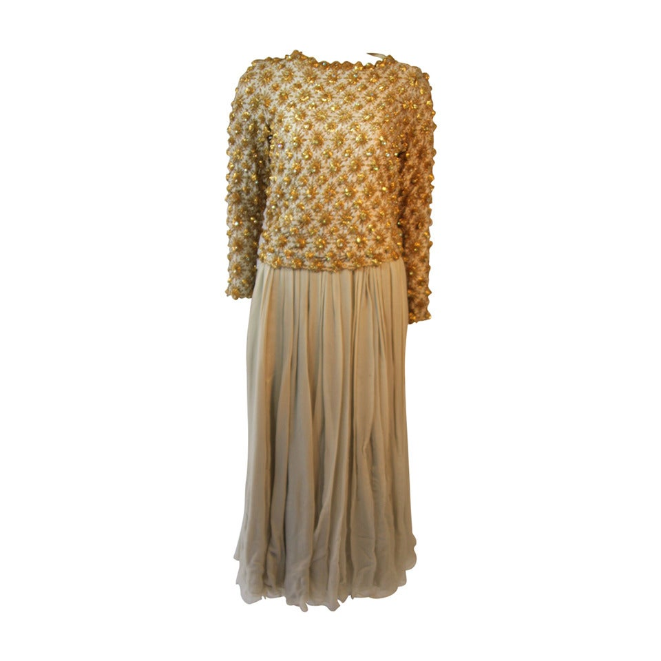 Gold and Chiffon Embellished 2 Piece Gown For Sale