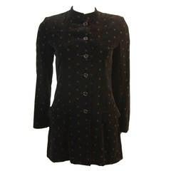 Yves Saint Laurent 1970's Black Velvet Blazer Nehru Collar