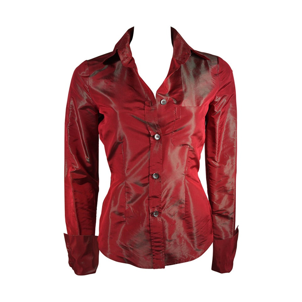 Romeo Gigli Red Iridescent Shirt Size 42 For Sale
