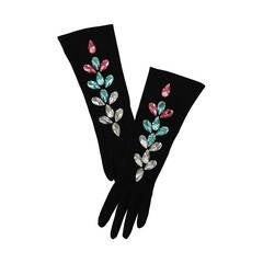 Yves Saint Laurent Jeweled Kidskin Suede Gloves Size 6.5
