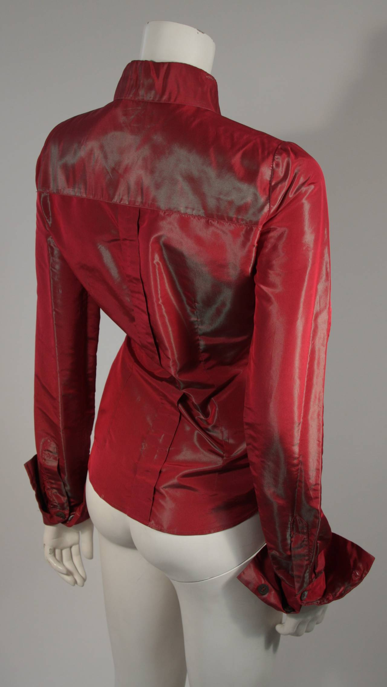 Women's Romeo Gigli Red Iridescent Shirt Size 42 For Sale