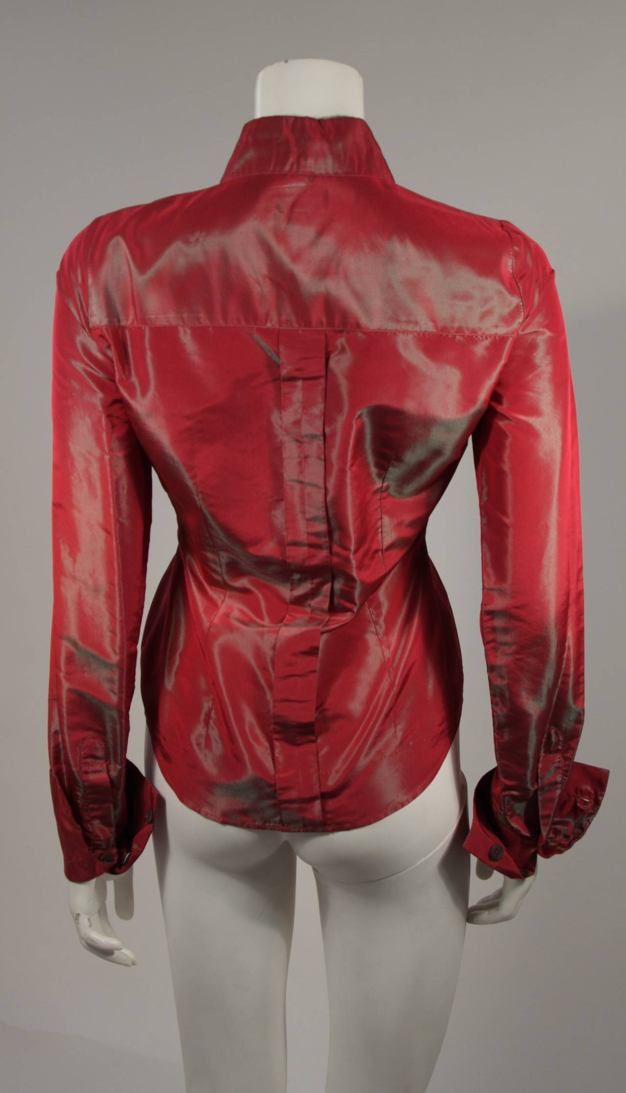 Romeo Gigli Red Iridescent Shirt Size 42 For Sale 1