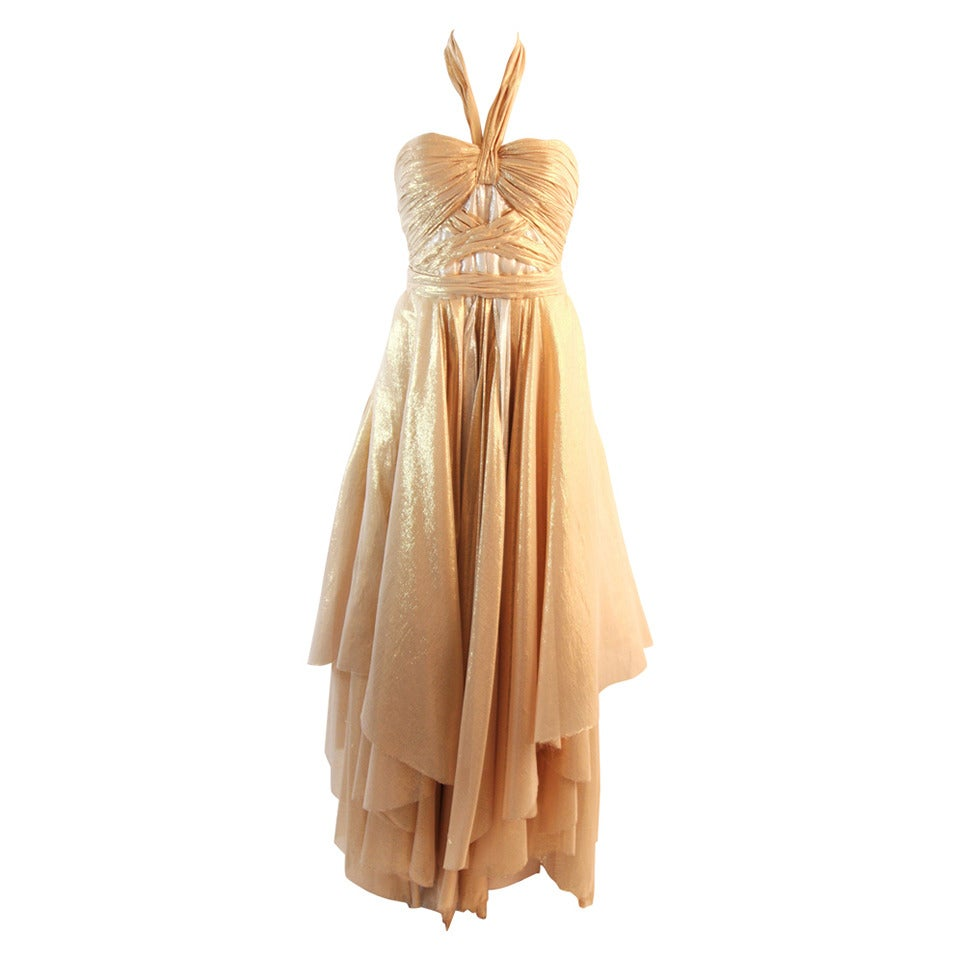 Elizabeth Mason Gold Lame Custom Couture Gown