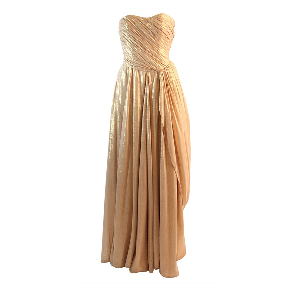 Elizabeth Mason Couture Custom Draped Strapless Gold Lame Gown