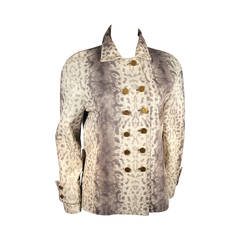 Gucci Snake Print Embossed Leather Double Breasted Button Front Jacket 38