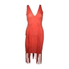 Herve Leger Orange Fringed Bodycon Dress Size XS
