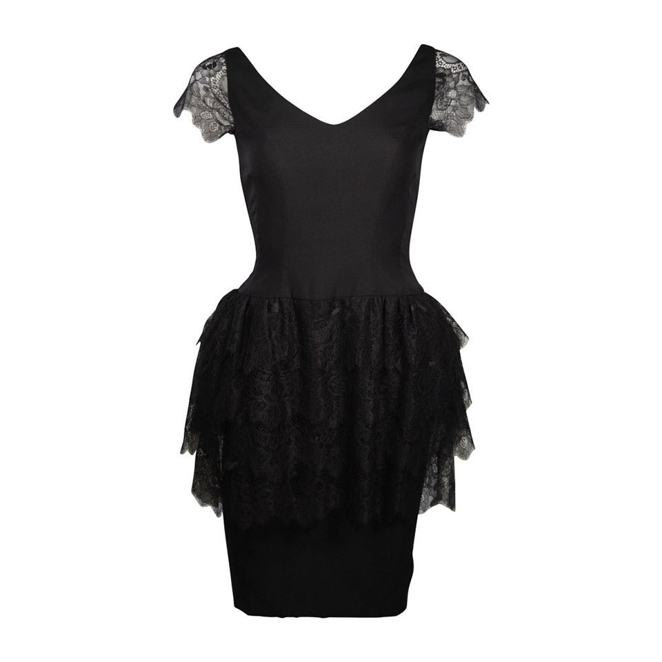 Elizabeth Mason Couture Silk & Lace Cocktail Dress size 2 (or made to measure)