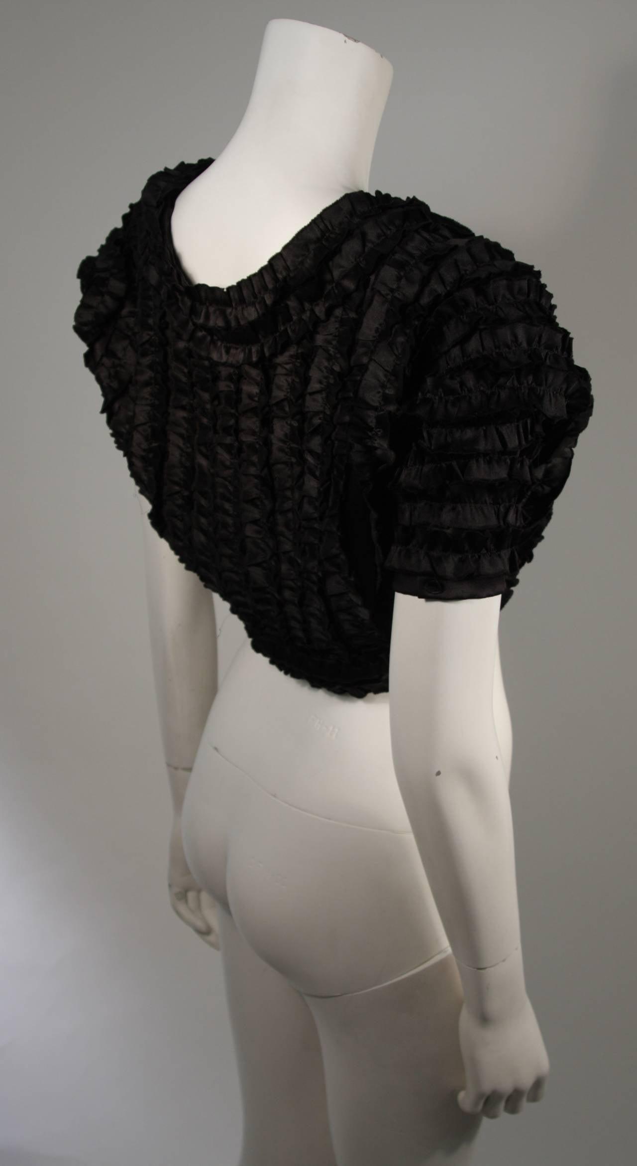 Elizabeth Mason Couture Black Silk Ruffle Bolero In New Condition For Sale In Los Angeles, CA