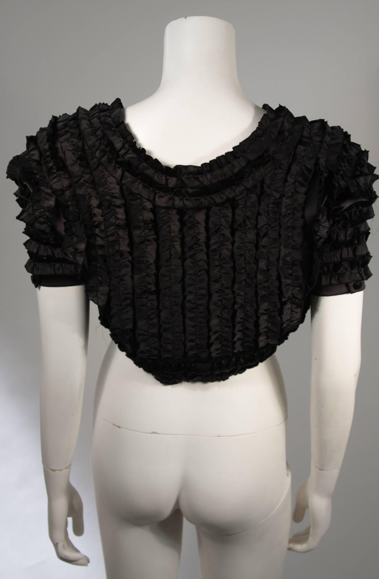 Women's Elizabeth Mason Couture Black Silk Ruffle Bolero For Sale