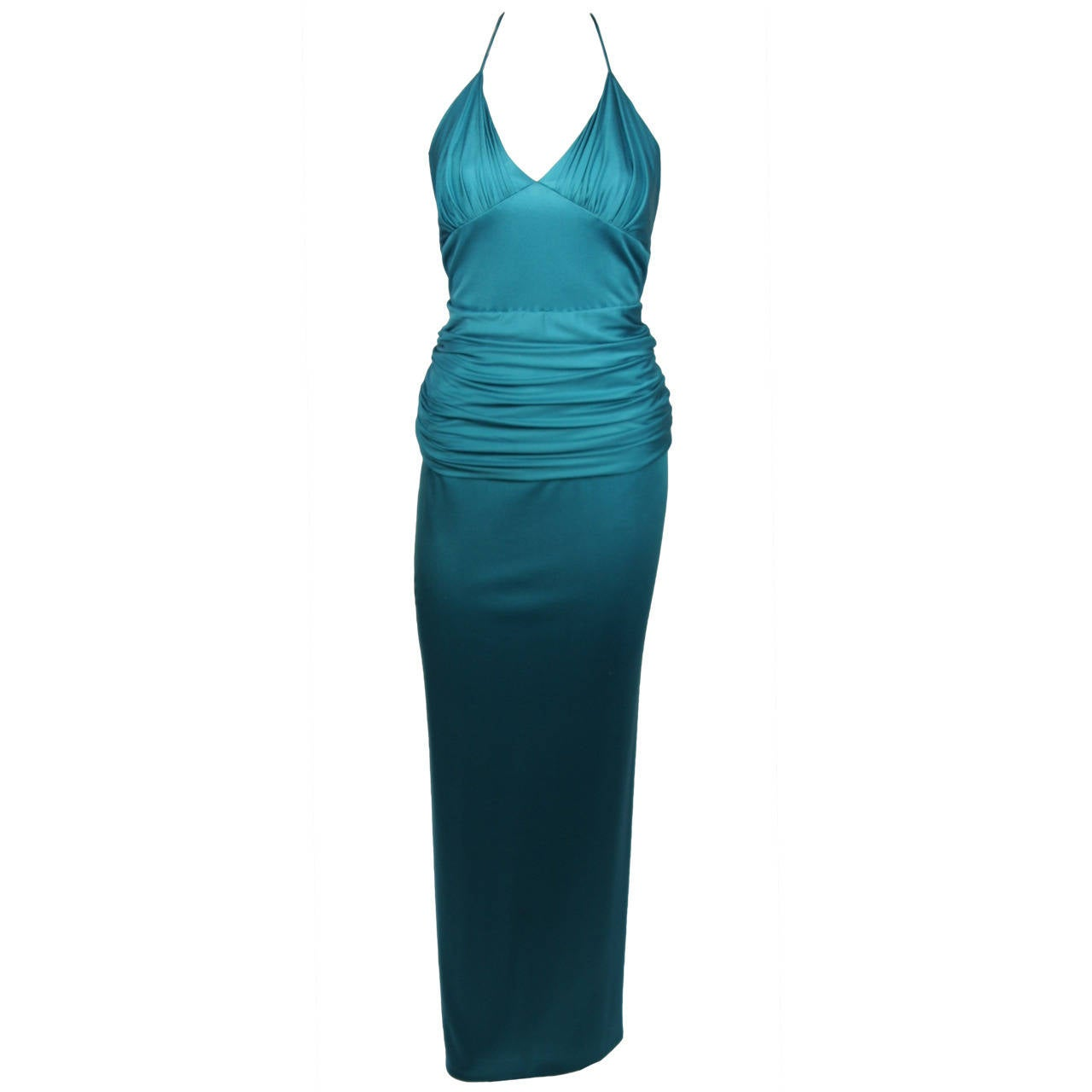 Elizabeth Mason Couture Custom Turquoise Silk Jersey Draped Gown size 4