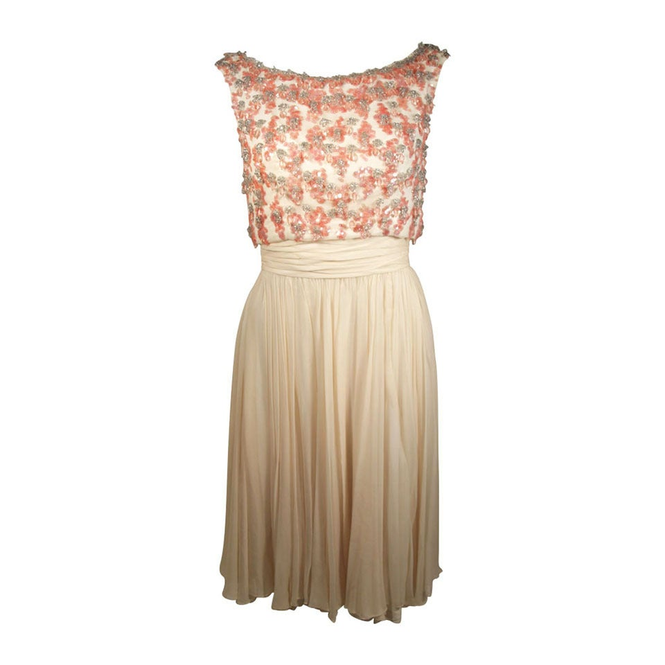 Pat Sandler Ivory Chiffon Cocktail Dress with Pink Embellishment Accents