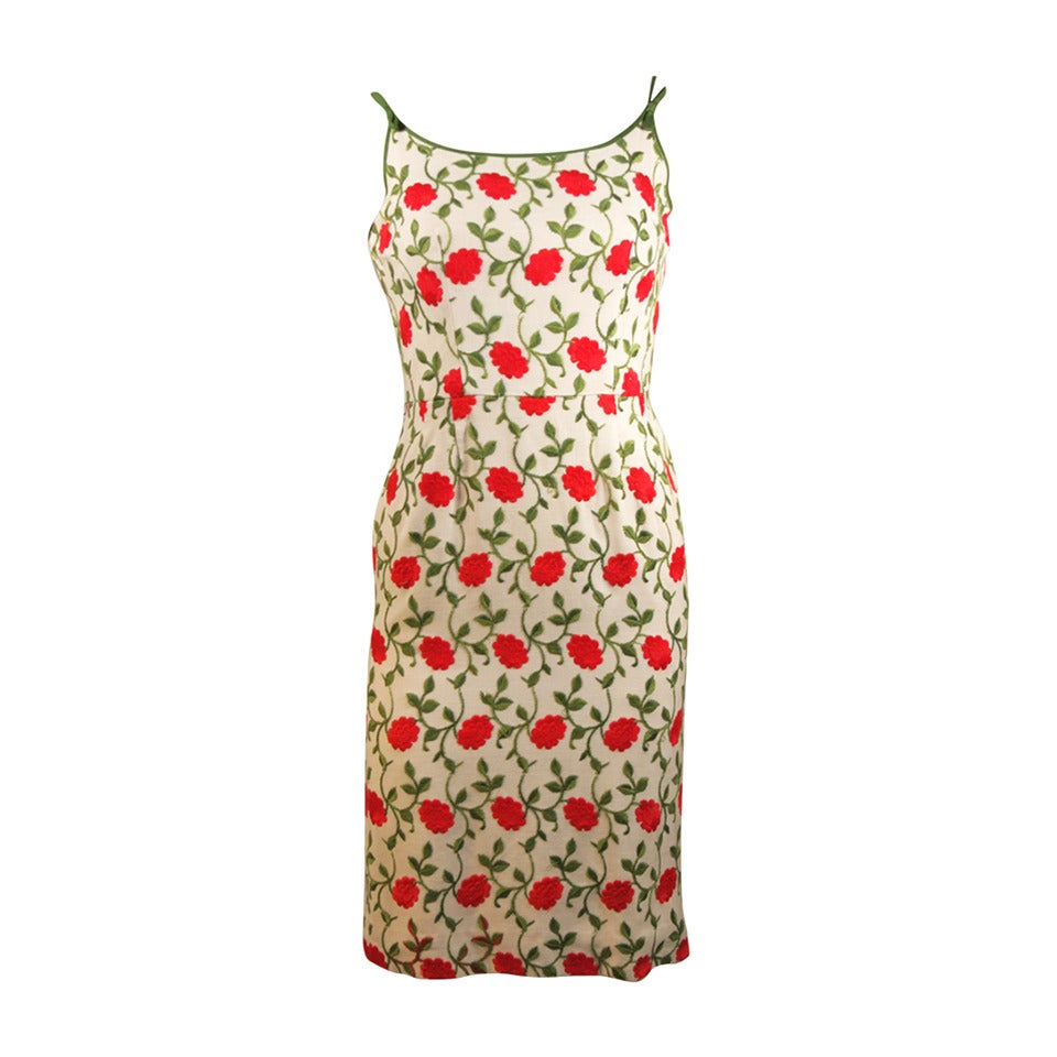 Red Floral Embroidered Linen Dress