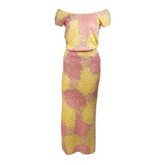 Gene Shelly's Yellow and Pink Stretch Wool Abstract Sequin Motif Evening Set 6-8
