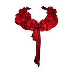 """Elizabeth Mason Couture Made to Measure Red Silk """"Rose"""" Wrap"""