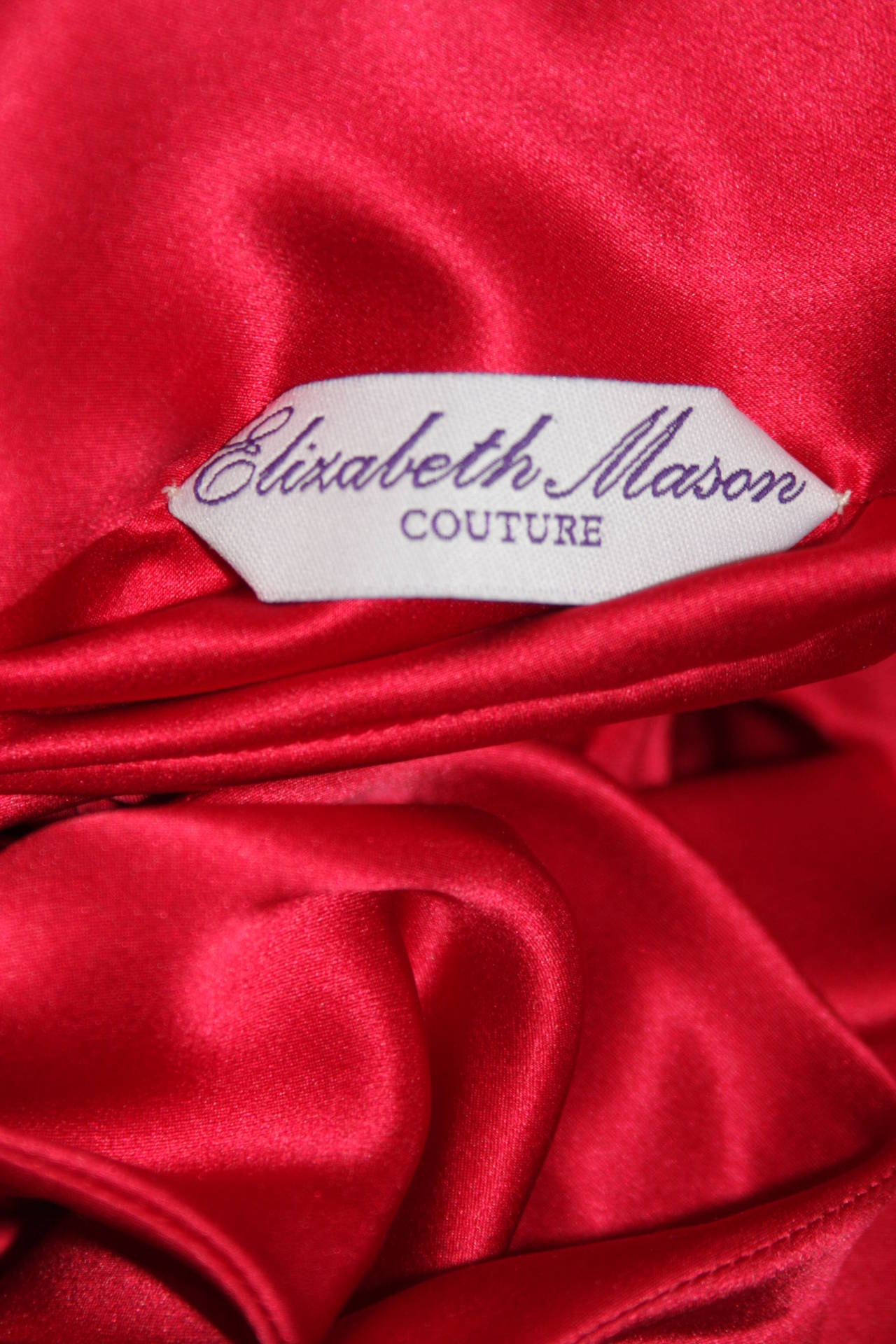 "Elizabeth Mason Couture Made to Measure Red Silk ""Rose"" Wrap 6"