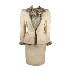 1980's Chanel Haute Couture Skirt Suit Ensemble with Metallic Accents Size 34
