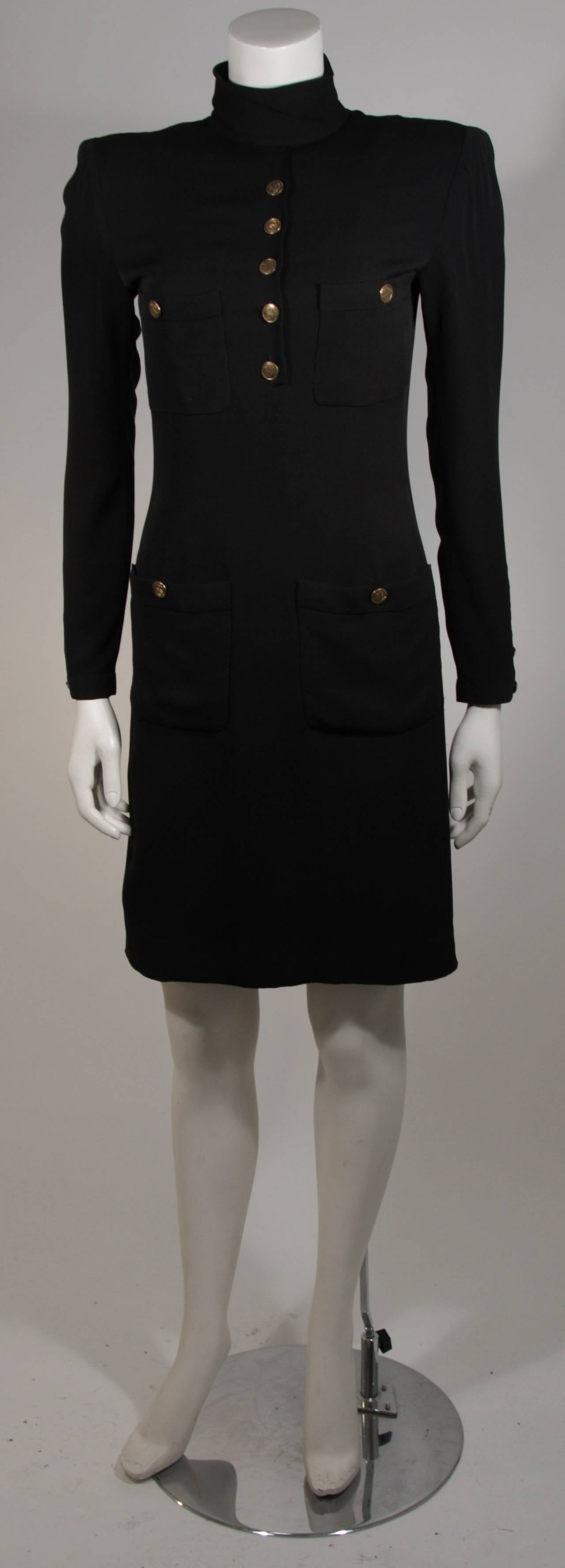 1980 39 s chanel haute couture military inspired black silk for Haute couture spelling