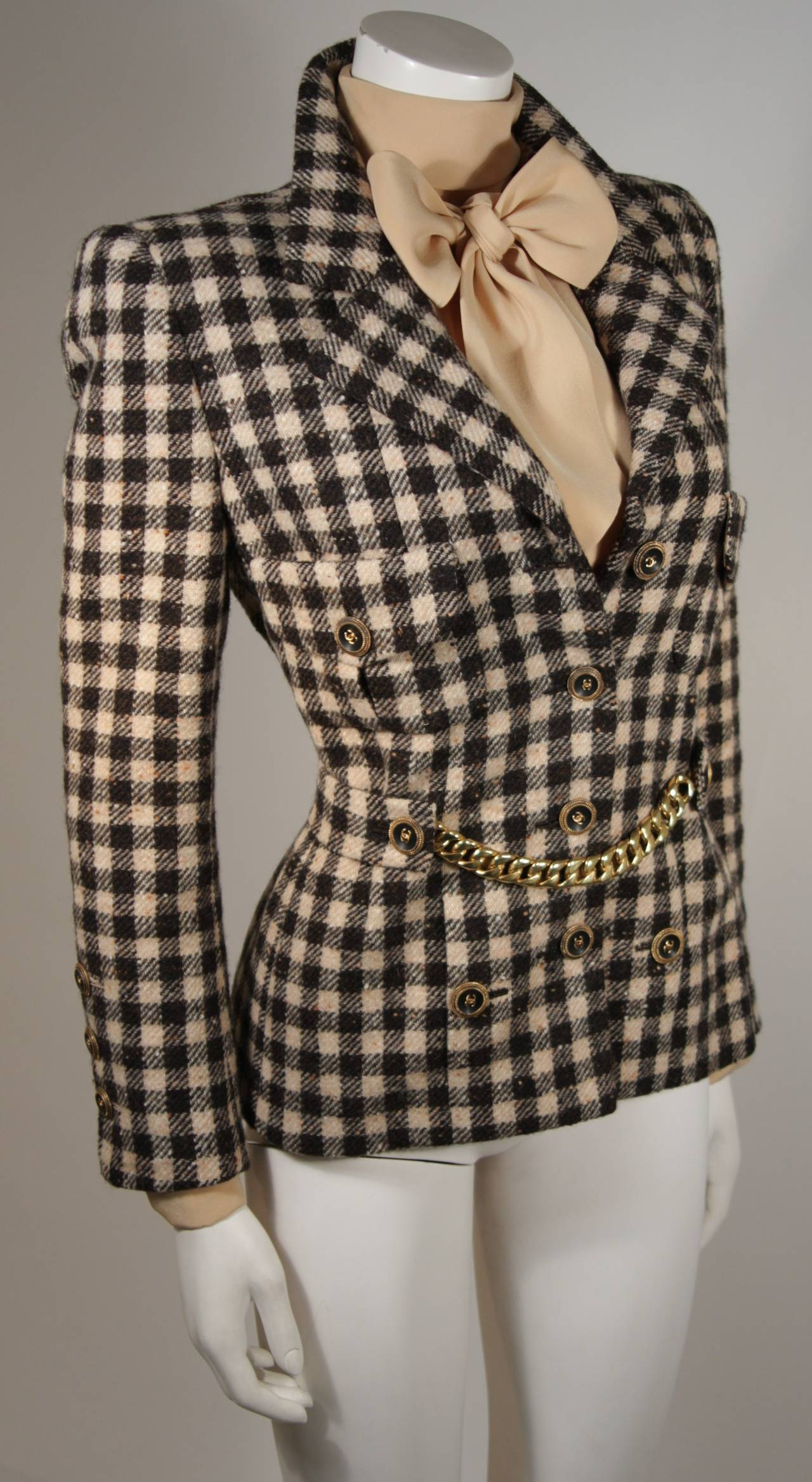 Chanel haute couture wool jacket and silk blouse set size for Haute couture jacket