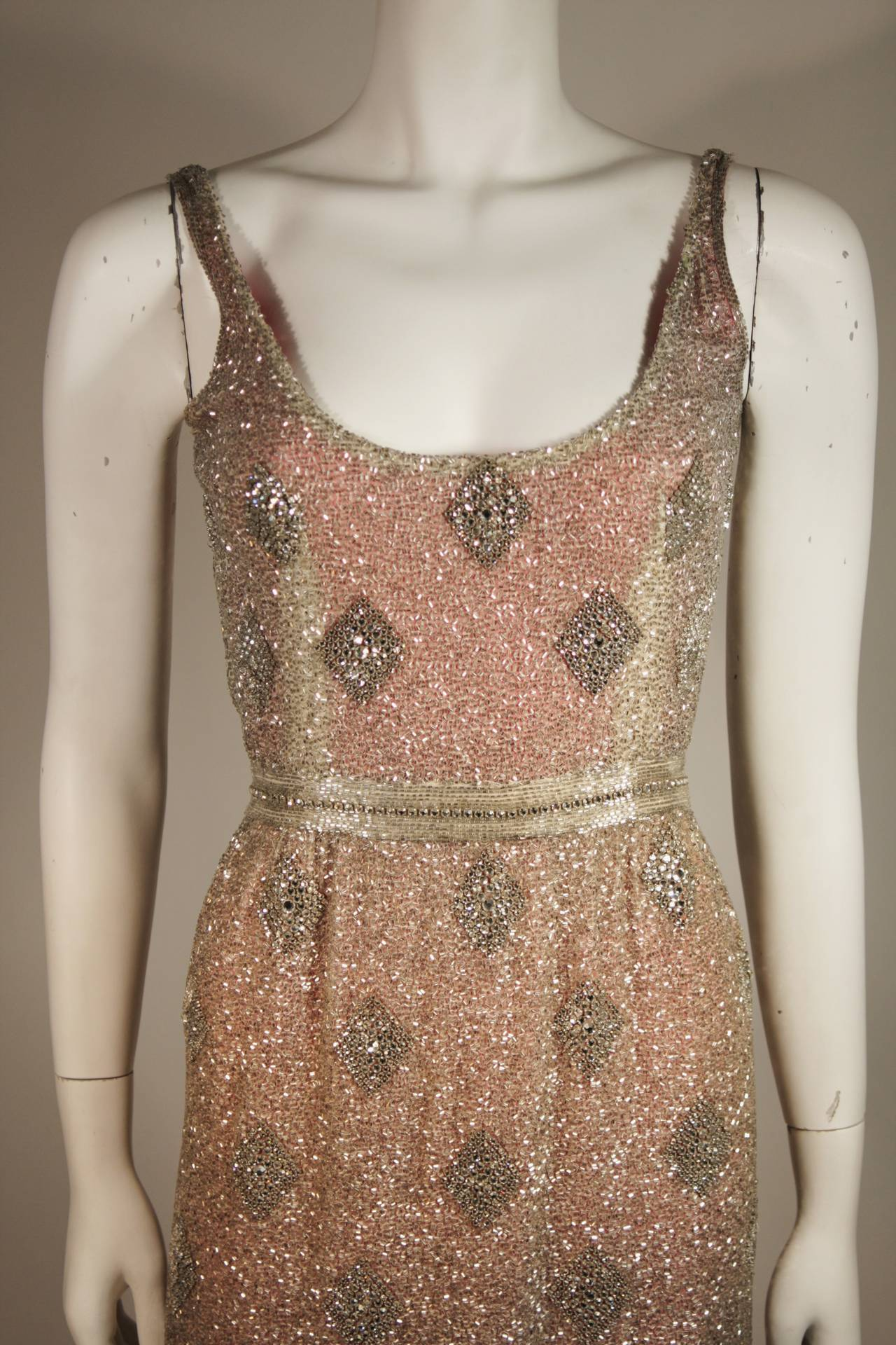 Silver Hand Beaded Rhinestone Gown w Raspberry Silk Lining & Back Slit Size S In Excellent Condition For Sale In Los Angeles, CA