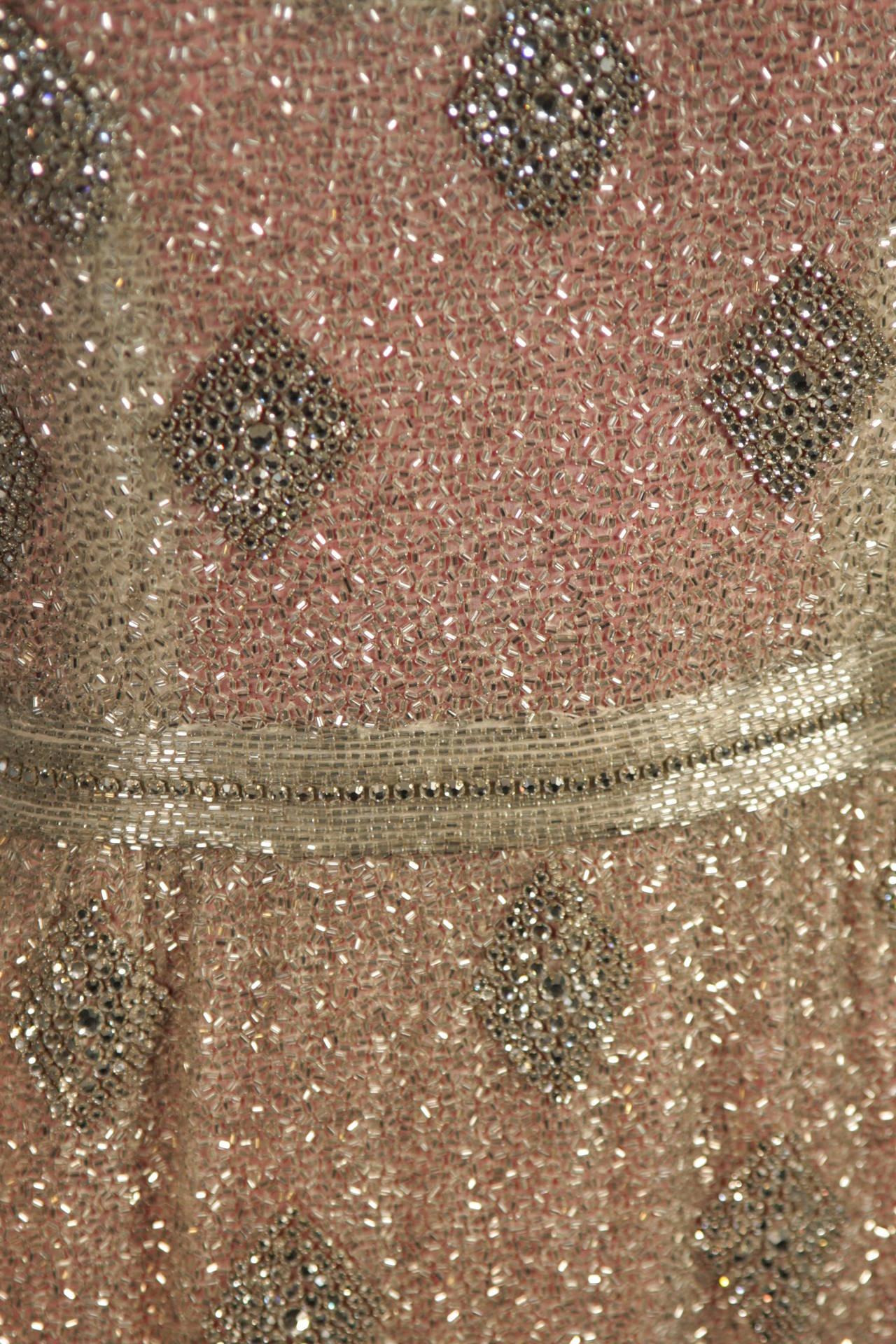 Women's Silver Hand Beaded Rhinestone Gown w Raspberry Silk Lining & Back Slit Size S For Sale