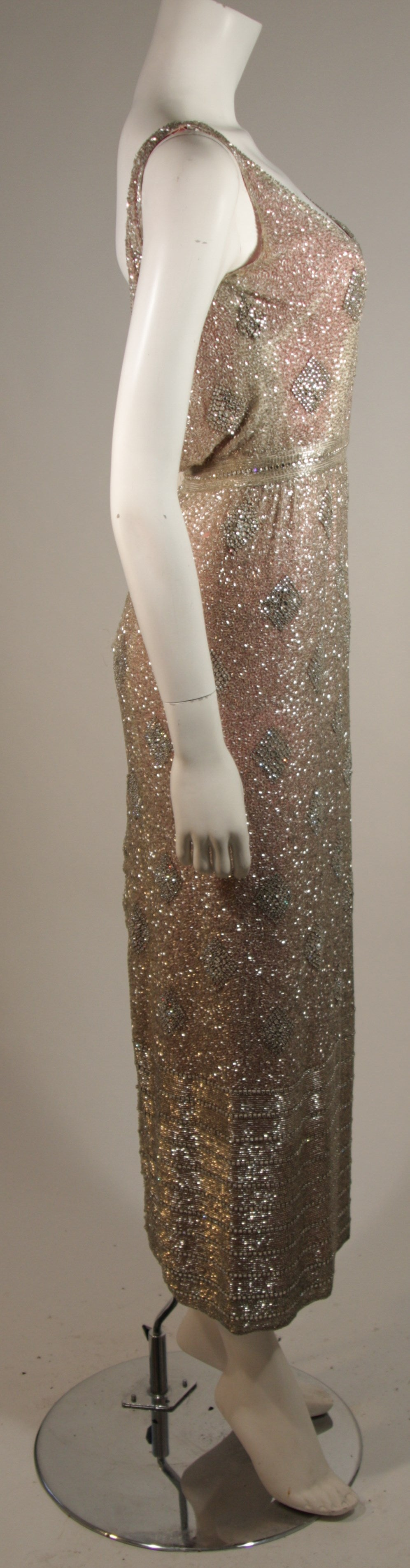 Brown Silver Hand Beaded Rhinestone Gown w Raspberry Silk Lining & Back Slit Size S For Sale