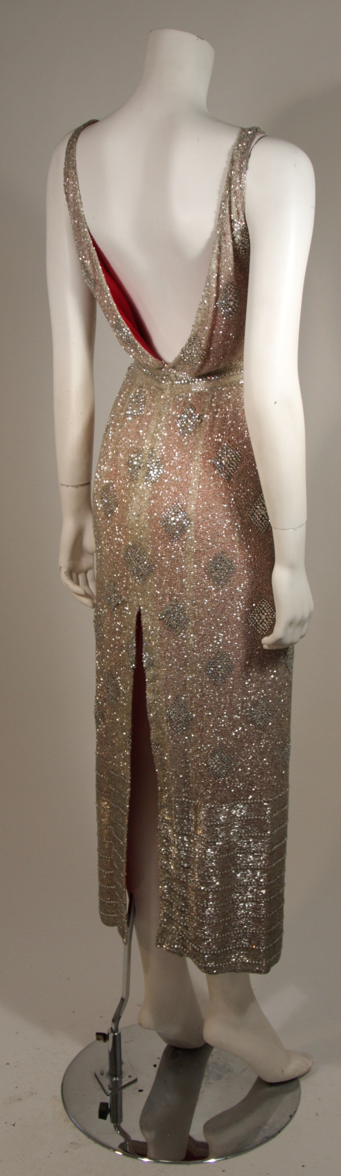 Silver Hand Beaded Rhinestone Gown w Raspberry Silk Lining & Back Slit Size S For Sale 1