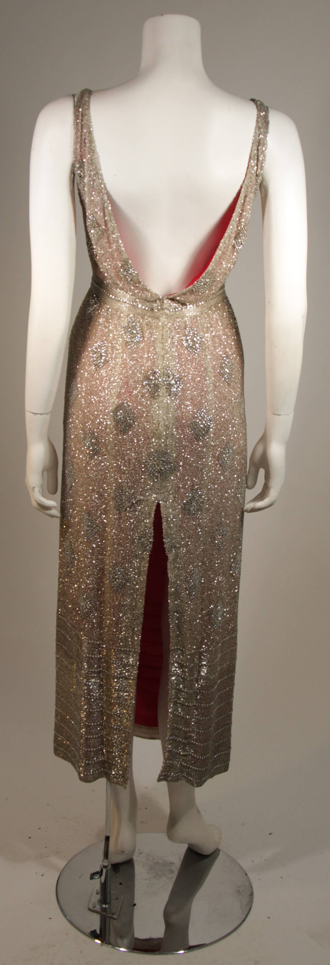 Silver Hand Beaded Rhinestone Gown w Raspberry Silk Lining & Back Slit Size S For Sale 2