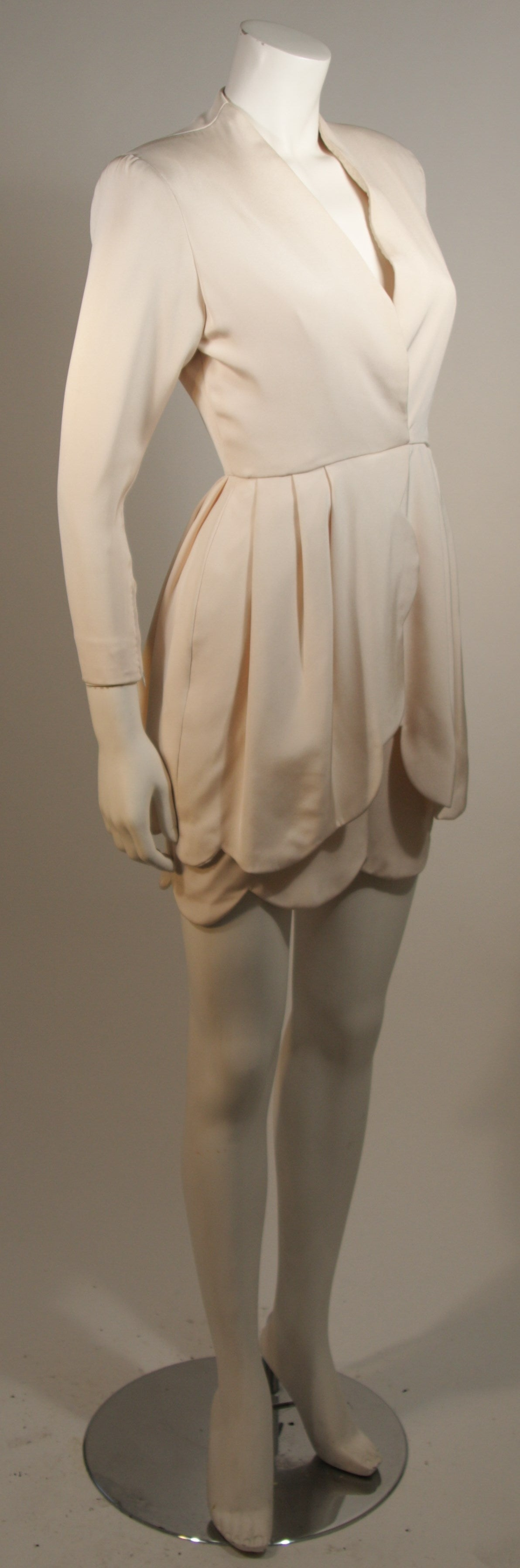 Beige Attributed to Valentino Scallop Edge Cocktail Dress Size Small For Sale