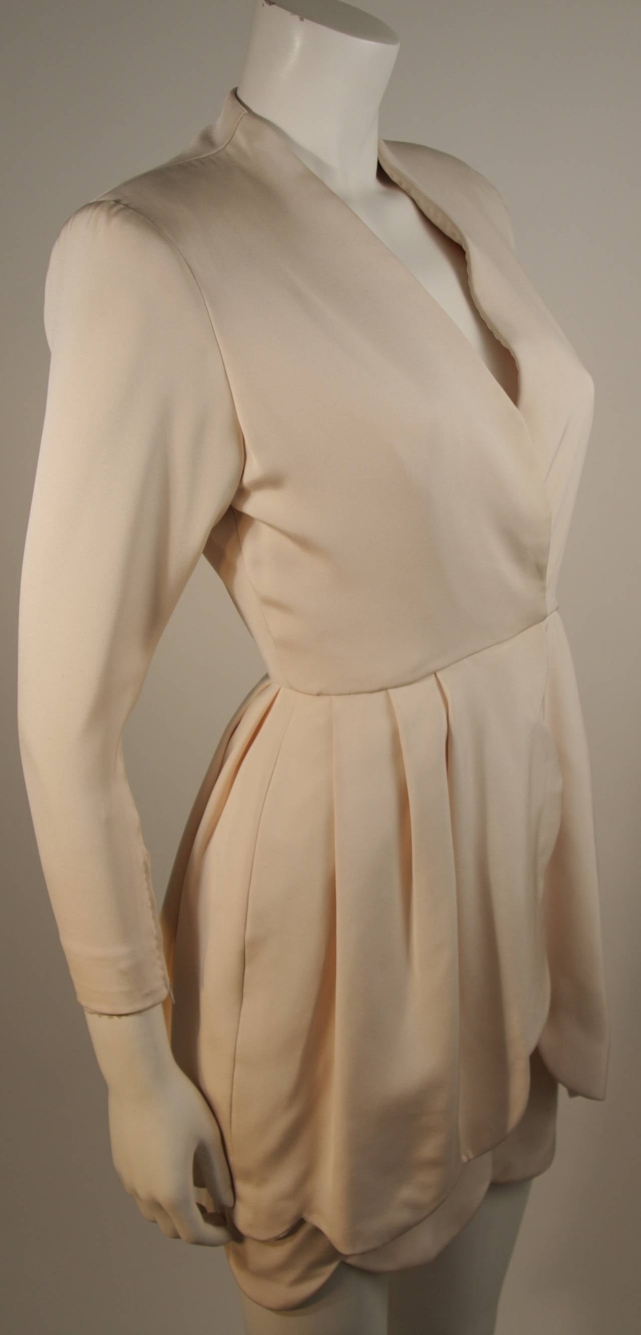 Attributed to Valentino Scallop Edge Cocktail Dress Size Small In Excellent Condition For Sale In Los Angeles, CA
