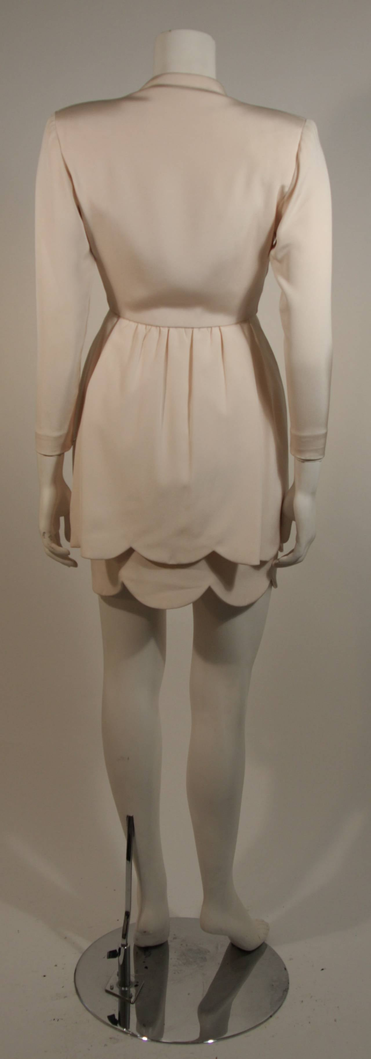 Attributed to Valentino Scallop Edge Cocktail Dress Size Small For Sale 2