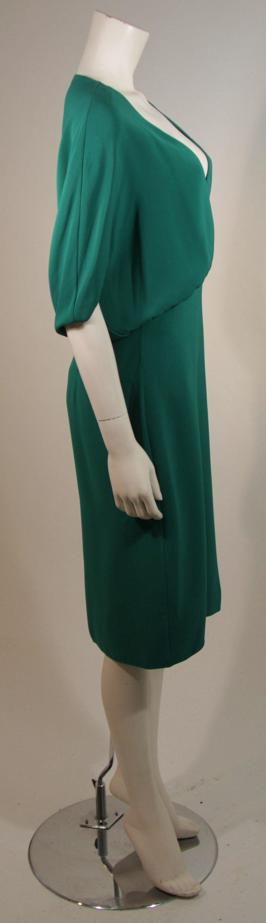 Valentino Green Silk Cocktail Dress with Plunge Neckline Size 8 For Sale 1