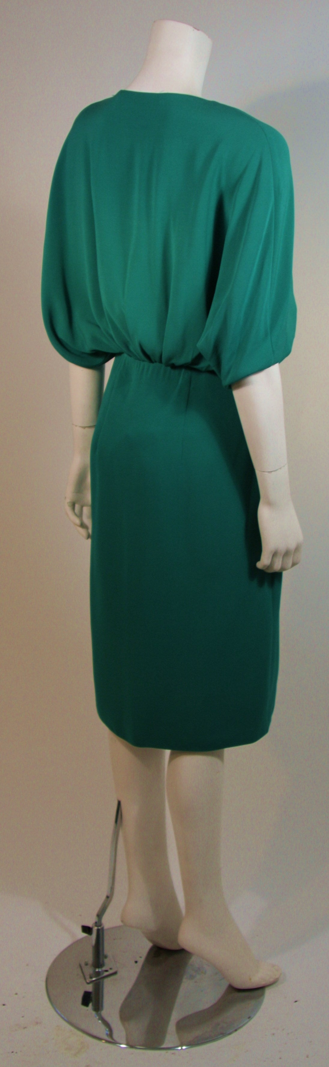 Women's Valentino Green Silk Cocktail Dress with Plunge Neckline Size 8 For Sale
