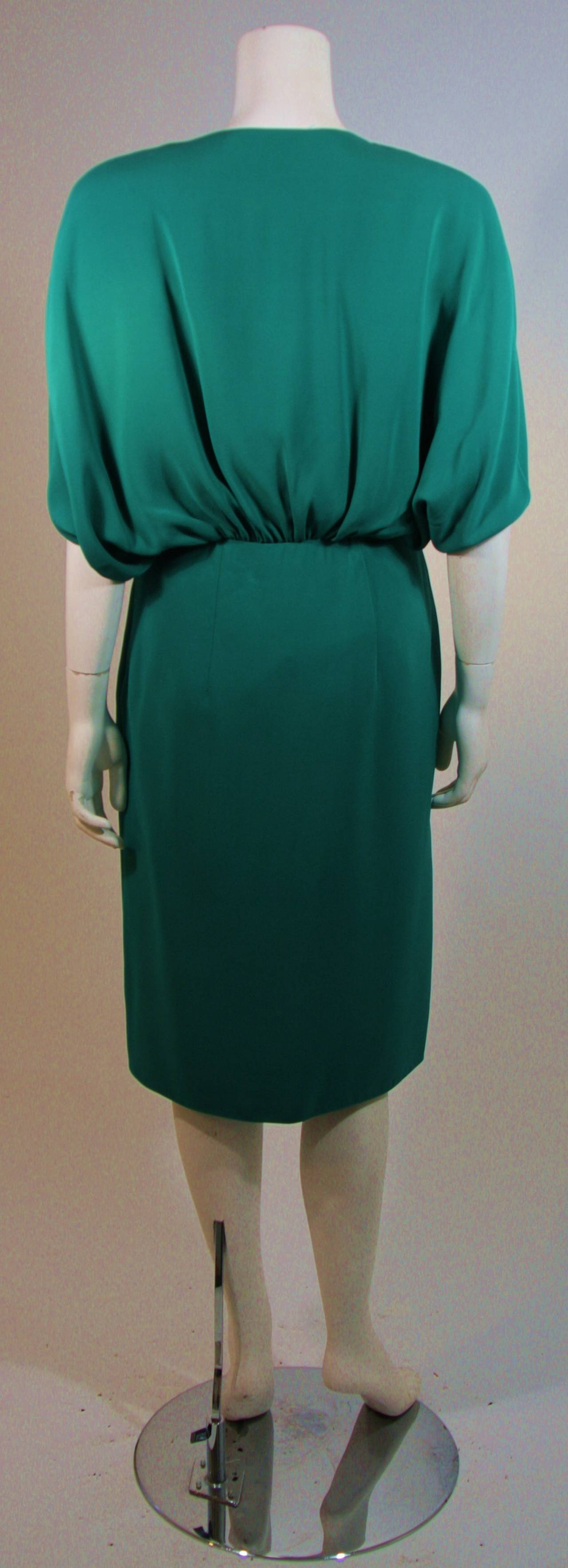 Valentino Green Silk Cocktail Dress with Plunge Neckline Size 8 For Sale 2