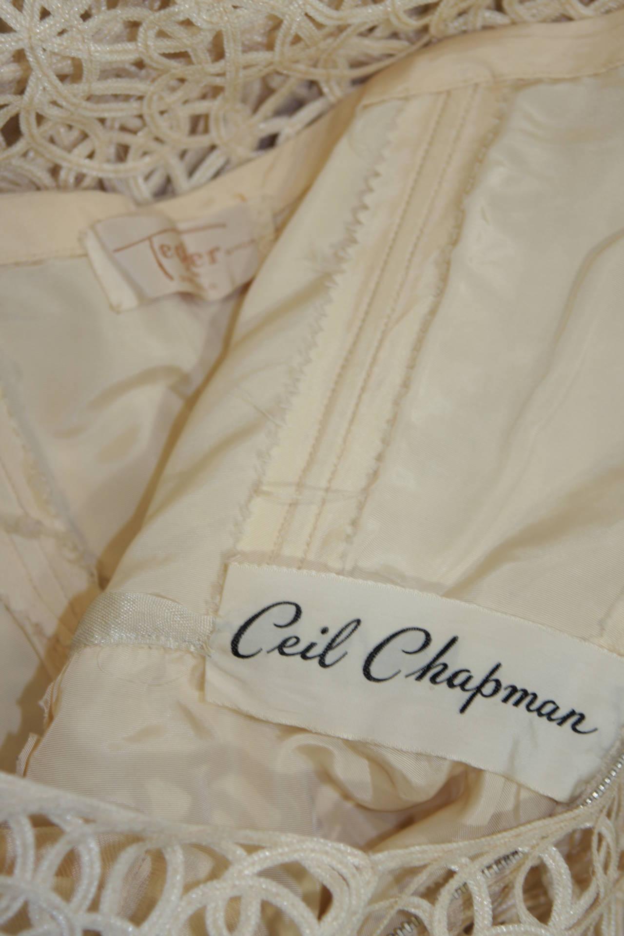 Ceil Chapman Cream Lattice Work Lace Cocktail Dress Size Small 9