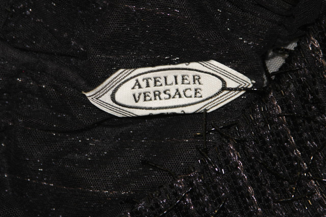 Versace Atelier Beaded Black Mesh Evening Top Size Small 9