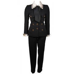 Chanel Haute Couture Black Wool Sailor Inspired Suit Size 34 36