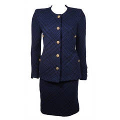 1980's Chanel Haute Couture Blue and Black Tweed Skirt Suit Size 4