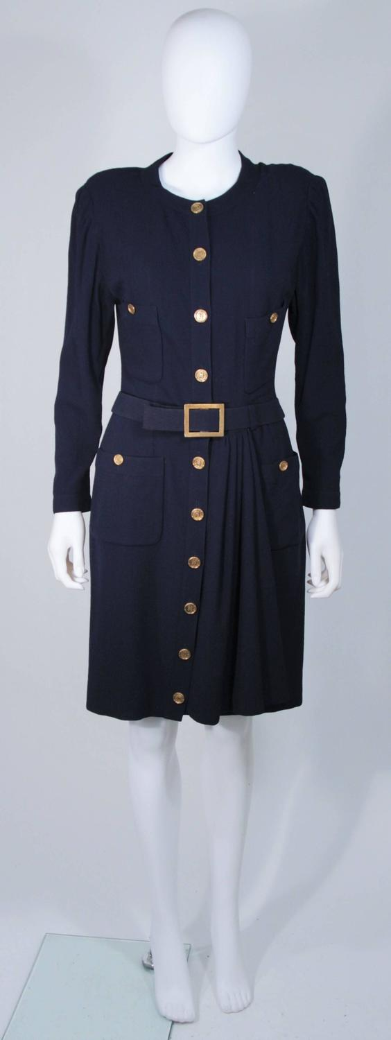 chanel attributed navy drape dress with belt and gold