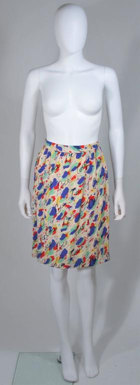 CHANEL BOUTIQUE Silk Abstract COCO Print Skirt and Blouse Set Size 4-6 9