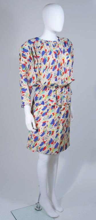 CHANEL BOUTIQUE Silk Abstract COCO Print Skirt and Blouse Set Size 4-6 5