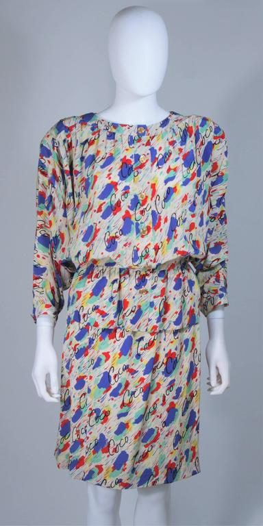 CHANEL BOUTIQUE Silk Abstract COCO Print Skirt and Blouse Set Size 4-6 3