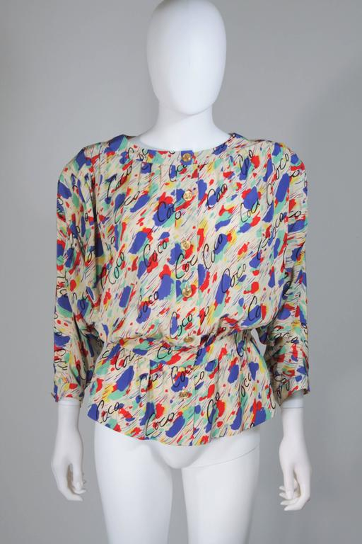 CHANEL BOUTIQUE Silk Abstract COCO Print Skirt and Blouse Set Size 4-6 8