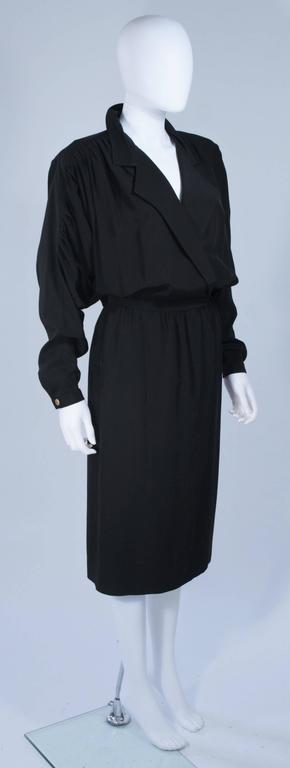 CHANEL Black Silk Draped Secretary Style Dress Size 2  4