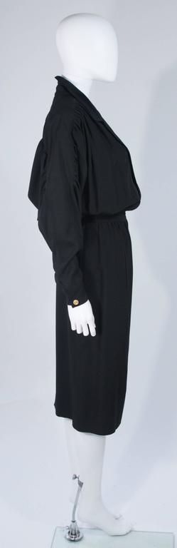 CHANEL Black Silk Draped Secretary Style Dress Size 2  6