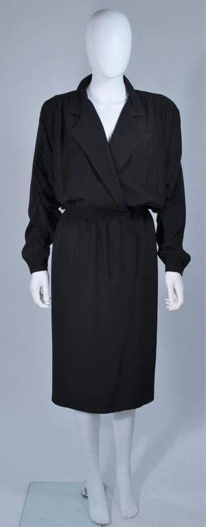 CHANEL Black Silk Draped Secretary Style Dress Size 2  2