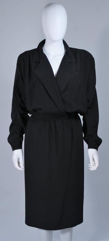 CHANEL Black Silk Draped Secretary Style Dress Size 2  3