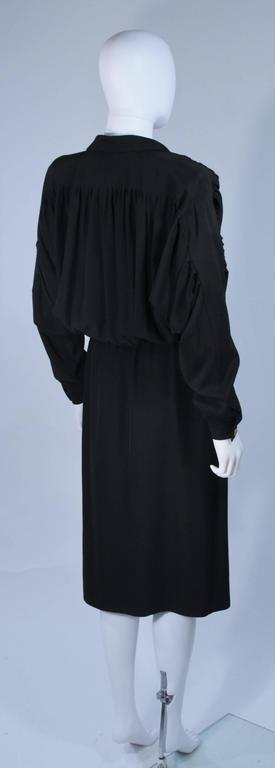 CHANEL Black Silk Draped Secretary Style Dress Size 2  7